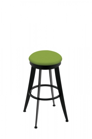 Holland's 9000 Laser Backless Swivel Barstool in Black Metal Finish and Green Seat Cushion