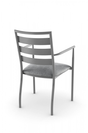 Amisco's Tori Transitional Dining Arm Chair with Ladder Back Design in Gray