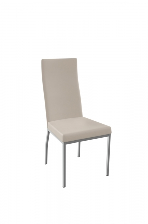 Amisco's Curve Modern Upholstered Dining Chair with Tall Back in Oyster Padded and Silver Metal Legs