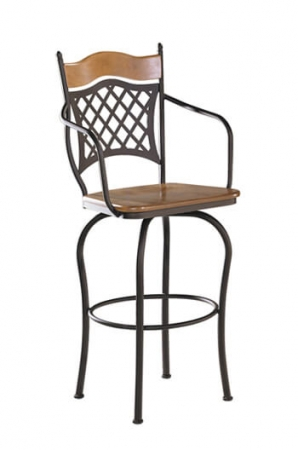 Trica Raphael 2 Swivel Stool with Arms and Wood Seat