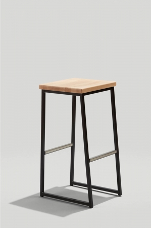 Grand Rapid's Brady Backless Stool in Ink Black Metal Finish and Honey Seat Wood Finish