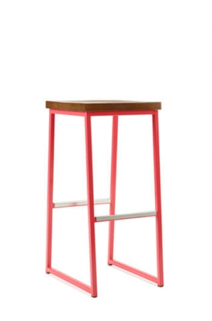 Grand Rapids Brady Backless Bar Stool in Red Frame and Wood Seat