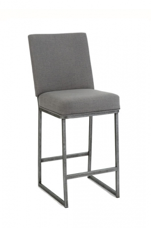 Wesley Allen's Marbury Upholstered Metal Bar Stool with Sled Base
