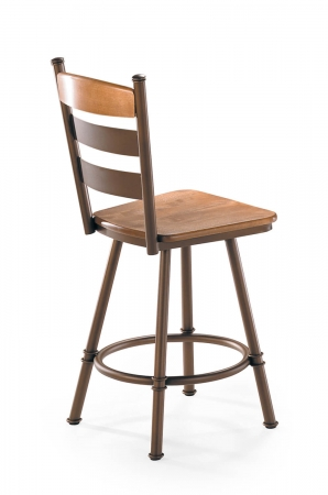 Trica's Louis Traditional Swivel Stool with Wood Seat and Ladder Back