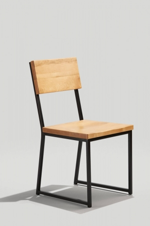 Grand Rapid's Brady Modern Schoolhouse Style Dining Chair in Graphite Metal Finish and Honey Seat and Back Wood Finish