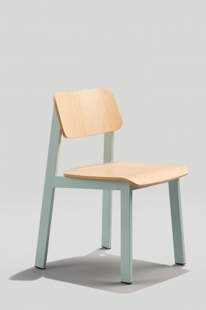 Grand Rapid's Sadie Modern Dining Chair in Dusty Blue Metal Finish and Natural Wood Back and Seat