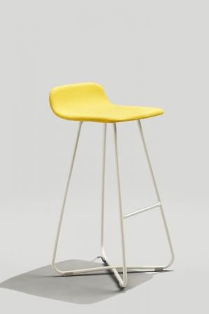 Grand Rapid's Harper Danish-Inspired Barstool with Grey White Metal Finish and Yellow Cushion