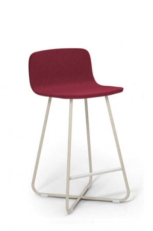 Harper Modern X-Base Stool with Burgundy Upholstery and Off-White Frame