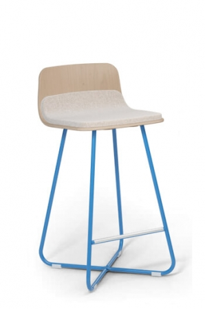 Back Wood Finish: Aspen • Seat Cushion: Mainline Flax • Metal Frame Finish: Sky Blue