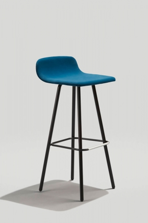 Grand Rapid's Harper Modern Barstool with Low Back in Ink Black Metal Finish and Blue Upholstery