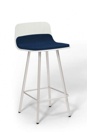 "Harper 26"" 4-Leg Stool with Partial Upholstery and Wood Back"