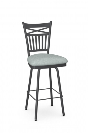 Amisco's Garden Traditional Metal Swivel Barstool in Gray and Blue