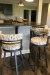 Amisco's Ronny Swivel Barstools in Charcoal Gray Metal Finish and Arrowhead Pattern on Seat/Back in Modern Kitchen Bar