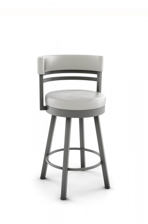 Amisco's Ronny Upholstered Swivel Bar Stool in 56 Titanium metal finish and off-white vinyl