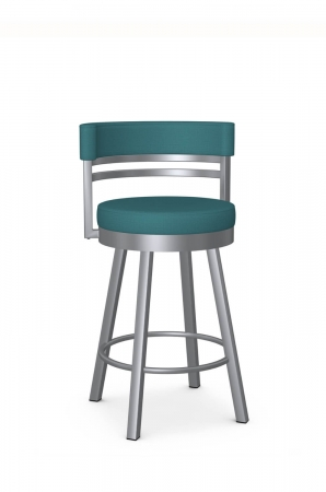 Amisco's Ronny Swivel Modern Kitchen Counter Stool in Silver and Blue