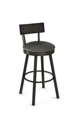 Amisco Lauren Swivel Stool with Seat Cushion and Metal Backrest
