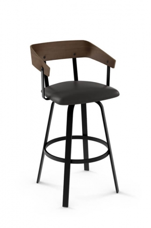 Amisco Carson Swivel Stool with Metal Frame and Wood Back