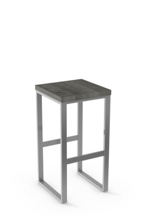 Aaron Backless Stool with Wood Seat