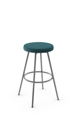 Amisco Hans Backless Swivel Stool with Blue Seat Cushion
