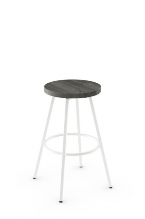 Amisco Hans Backless Swivel Stool with Wood Seat