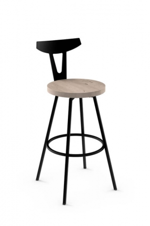 Amisco Hans Nordic Swivel Stool with Wood Seat
