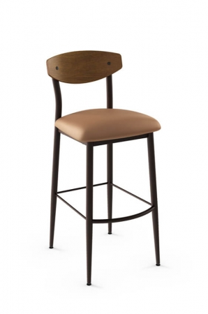 Amisco Hint Stool with Wood Backrest, Metal Frame and Seat Cushion