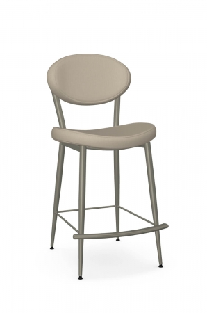 Amisco's Opus Stationary Retro Modern Barstool with Oval Back and Saddle Seat