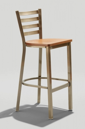 Grand Rapid's Melissa Anne Barstool with Ladder Back Design in Shiny Brown Metal Finish and Wood Seat