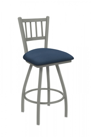 Holland's Contessa Big and Tall Swivel Bar Stool with Vertical Slats on Back in Anodized Nickel Metal Finish and Rein Bay Blue vinyl seat cushion