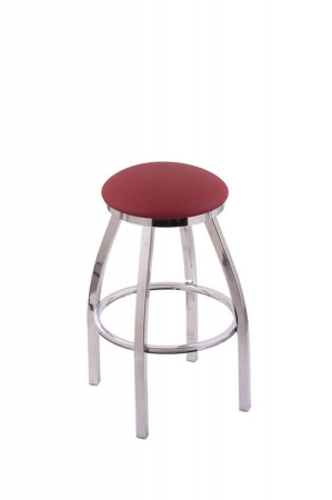 Jackie XL Swivel Backless Stool in Chrome Finish