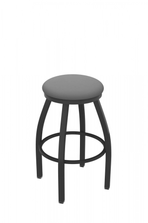 Holland's Misha #x802 Big and Tall Backless Swivel Stool in Pewter Metal Finish and Gray Seat Cushion