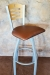 """Holland's 830 Voltaire Swivel Metal Bar Stool at 36"""" Seat Height - With Wood Back and Red Seat Cushion"""