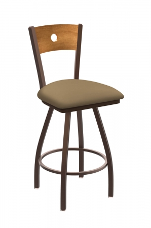 Holland's #830 Voltaire XL Big and Tall Barstool with Back - In Bronze Metal Finish, Medium Maple Wood Back, and Brown Seat Cushion