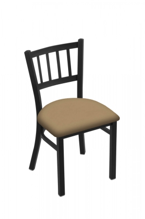 Holland's #610 Contessa Dining Chair in Black Metal Finish and Brown Seat Cushion
