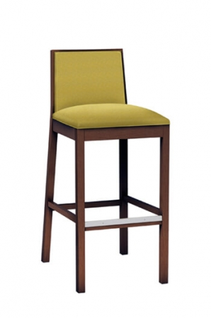 Cara Wood Stool with Seat and Back Cushion for Traditional Kitchens