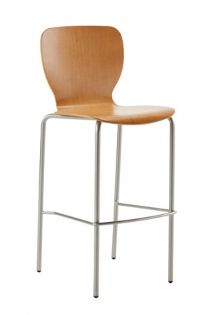 Felix Jr. Modern Stool with Wood Shell and Metal Base Frame