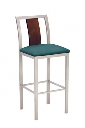Jill Stool III with Seat Cushion and Wood Back Trim
