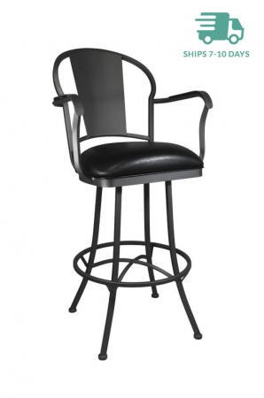 Callee Charleston Swivel Stool W Arms In Black Gray