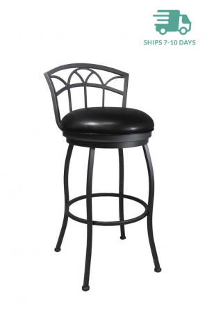 Callee Fairview Swivel Stool in Gray finish and Black vinyl