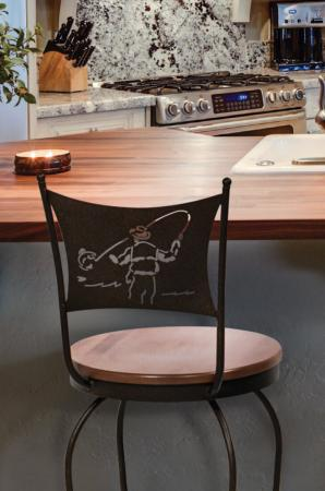 Trica's Art Collection Swivel Stool with Wood Seat and Fisherman Back Design in Traditional Kitchen
