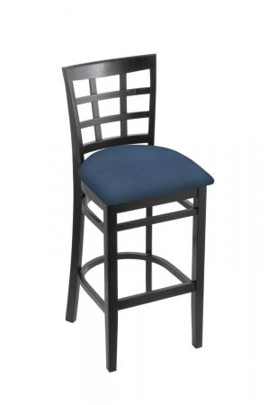 Holland's Hampton 3130 Barstool with Back in Black Wood and Blue Seat Cushion