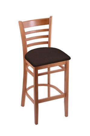 Holland's Hampton #3140 Barstool with Back in Medium Wood and Brown Seat Cushion