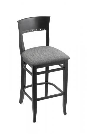 Holland's #3160 Hampton Bar Stool in Black Wood and Gray Seat Cushion