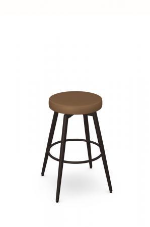 Amisco's Nox Backless Swivel Bar Stool in Bronze Metal and Caramel Vinyl Seat Cushion
