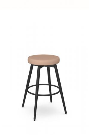 Amisco's Nox Backless Swivel Scandinavian Bar Stool with Black Metal and Pink Seat Cushion
