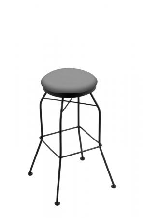 Holland's 3020 Backless Swivel Barstool in Black Metal Finish and Grey Vinyl Seat