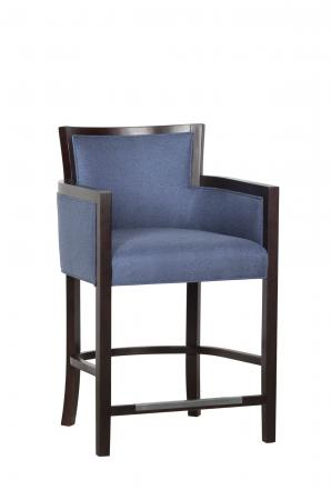 Fairfield Chair Albany Wood Bar Stool with Arms in Blue Fabric