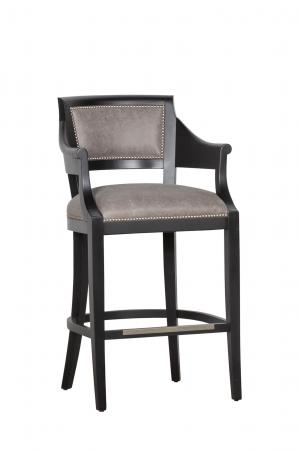 Fairfield's Gilroy Modern Wood Bar Stool in Brown with Arms and Nailhead Trim