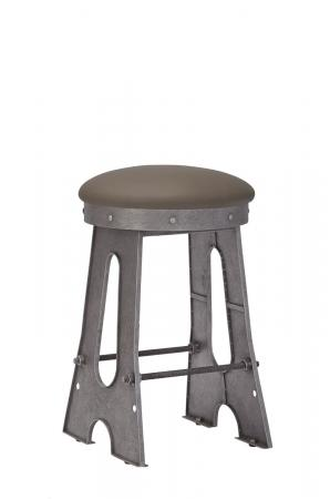 Wesley Allen's Detroit Backless Industrial Bar Stool in Silver Metal and Brown Seat Cushion