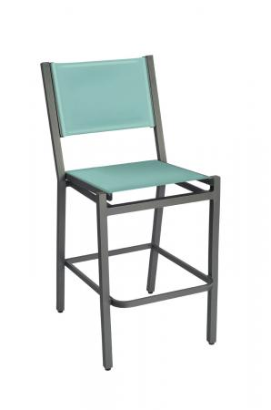 Woodard Palm Coast Outdoor Armless Bar Stool with Back - Shown in Augustine Frost fabric
